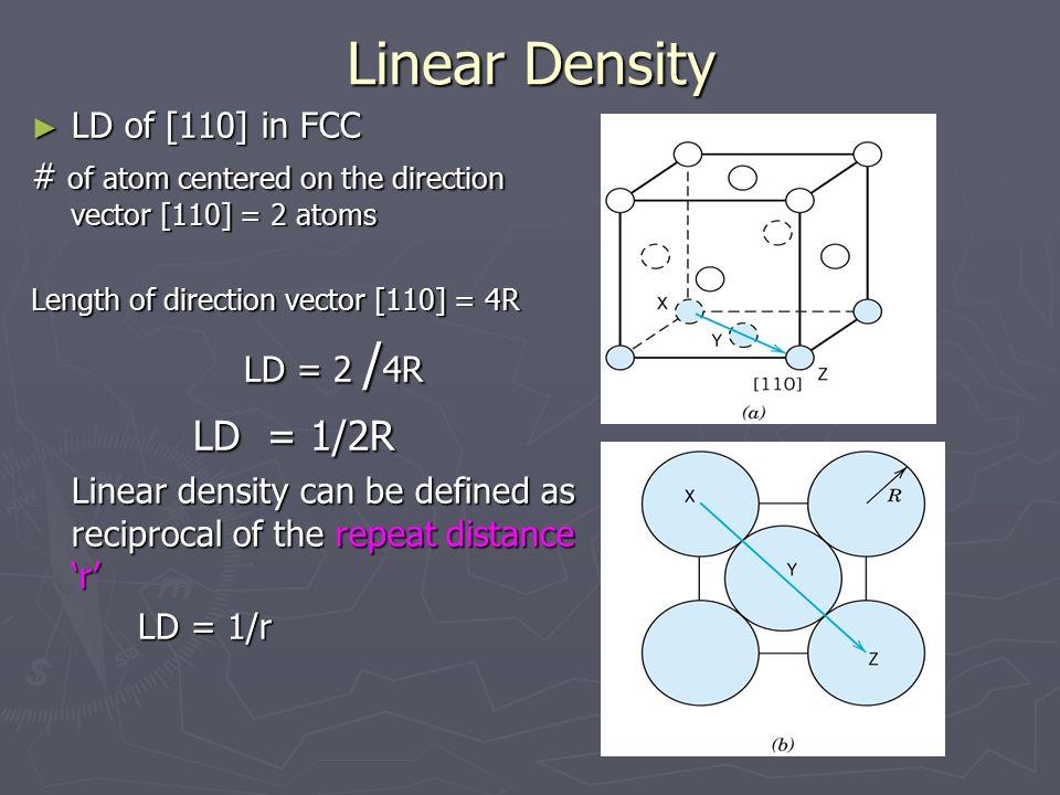 Linear Density LD of [110] in FCC